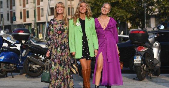 Skandinávské influencerky v Miláně. Všimněte si bot k šatům u Jeanette Madsen (vlevo) a Thory Valdimars (vpravo)