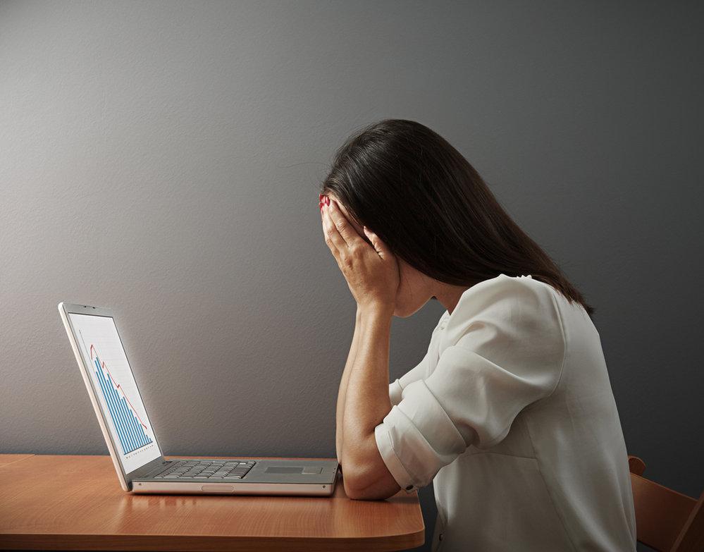 žena, počítač, smutek, deprese