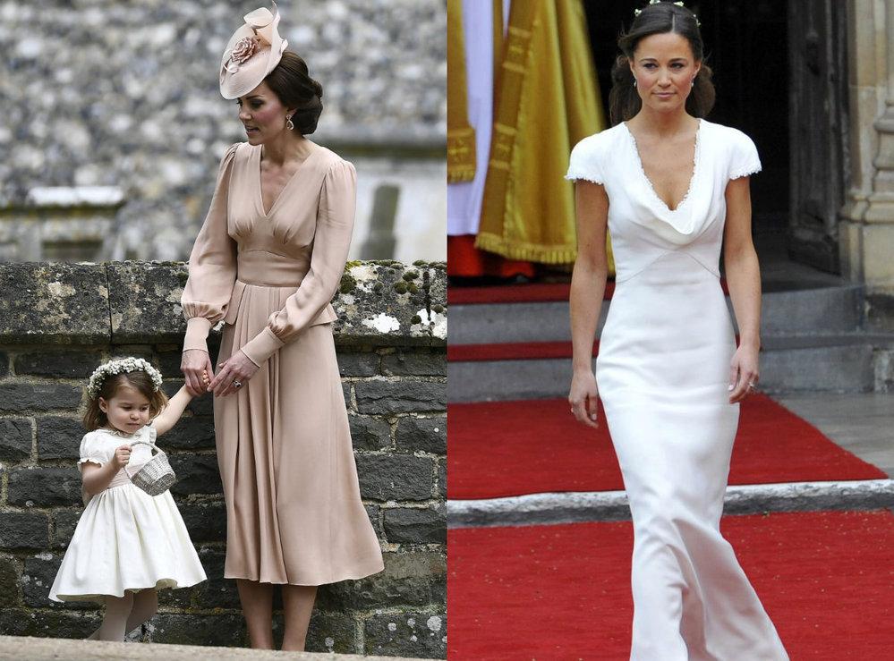 Kate na dnešní svatbě ve starorůžové, Pippa na svatbě před šesti lety v nezapomenutelných šatech