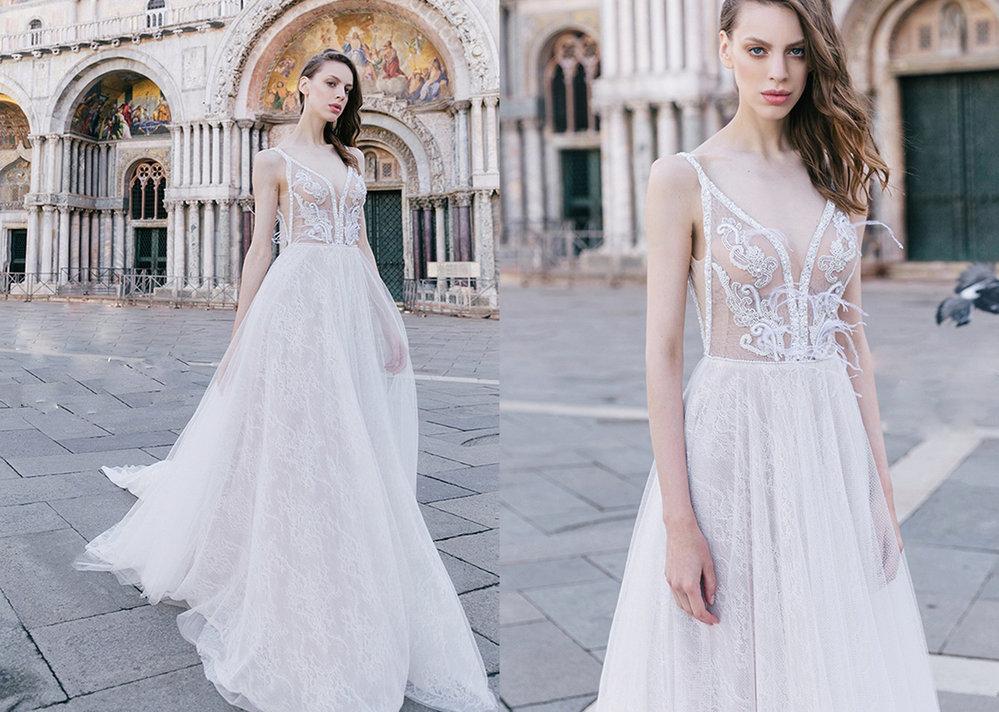 Odvážné svatební šaty s krajkou ze salonu Le Monika