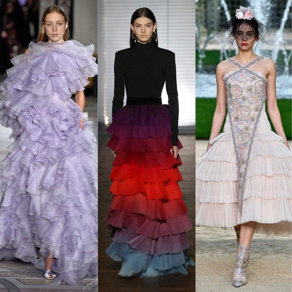 Zleva: Giambattista Valli, Givenchy, Chanel