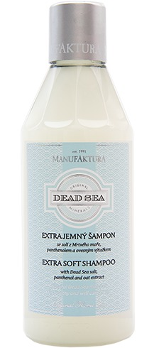 Extra jemný šampon se solí z Mrtvého moře, panthenolem a ovesným výtažkem, Manufaktura, 189 Kč/250 ml