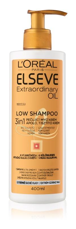 Pečující mycí krém pro velmi suché vlasy, Elseve Extraordinary Oil Low Shampoo, L'Oréal Paris, 133 Kč/400 ml