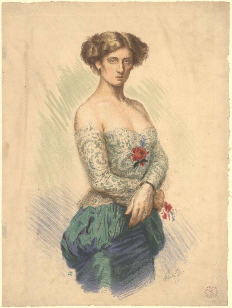 Sidonie Nádherná na litografii od Maxe Švabinského, ze sbírek Národního muzea