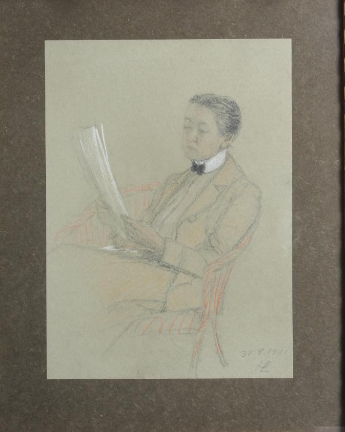 Anna Bayerová na kresbě od Heleny Emingerové, ze sbírek Národního muzea