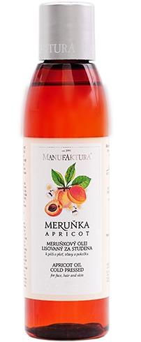 Meruňkový olej lisovaný za studena k péči o pleť, vlasy a pokožku, Manufaktura, 299 Kč/155 ml