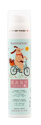 Jemný dětský výživný krém na tvář a tělo s mandlovým a ovesným olejem, Manufaktura, 219 Kč/100 ml