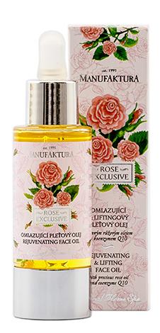 Omlazující & liftingový pleťový olej s cenným růžovým olejem a koenzymem Q10, Manufaktura, 429 Kč/30 ml