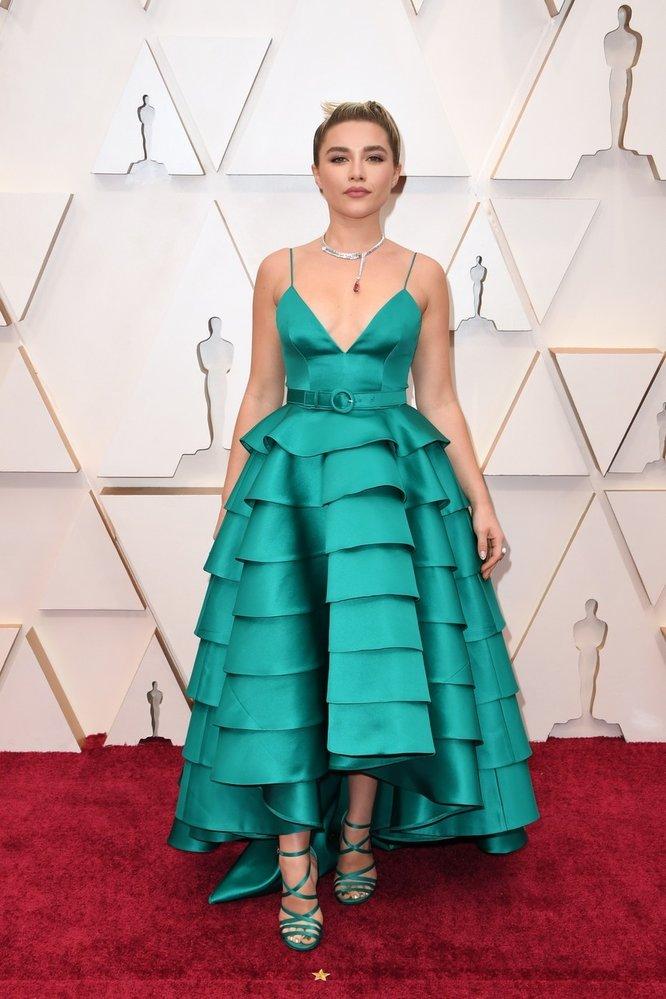 Florence Pugh na Oscarech v šatech Louis Vuitton