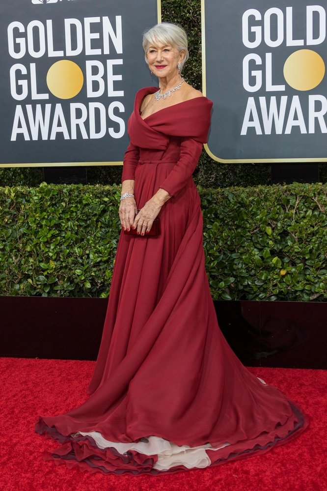 Helen Mirren na Zlatých glóbech v šatech Dior Haute Couture