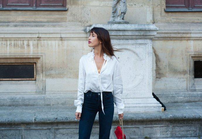 Francouzská módní ikona  Jeanne Damas na pařížském fashion weeku