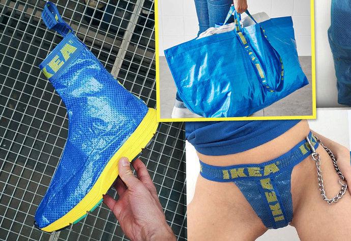 Modrý pytel z obchodu IKEA se dá přetvořit v řadu oblečení a doplňků. 2db03479325