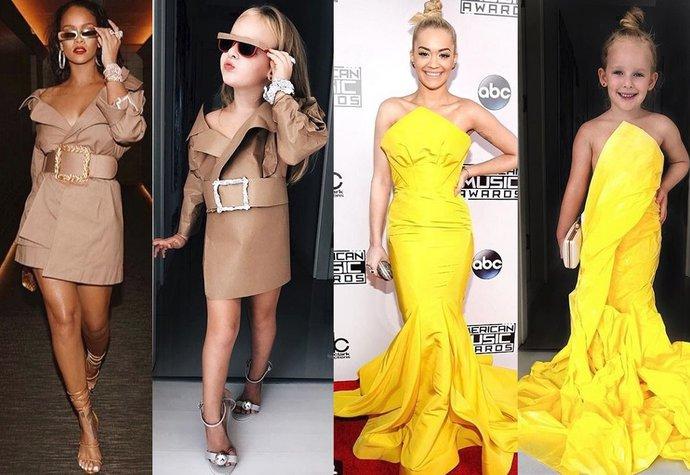 Malá Stefani v outfitech jako slavné ženy