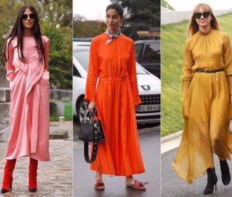 Inspirace z ulic Paříže: Dlouhé šaty ve žhavých barvách podzimu
