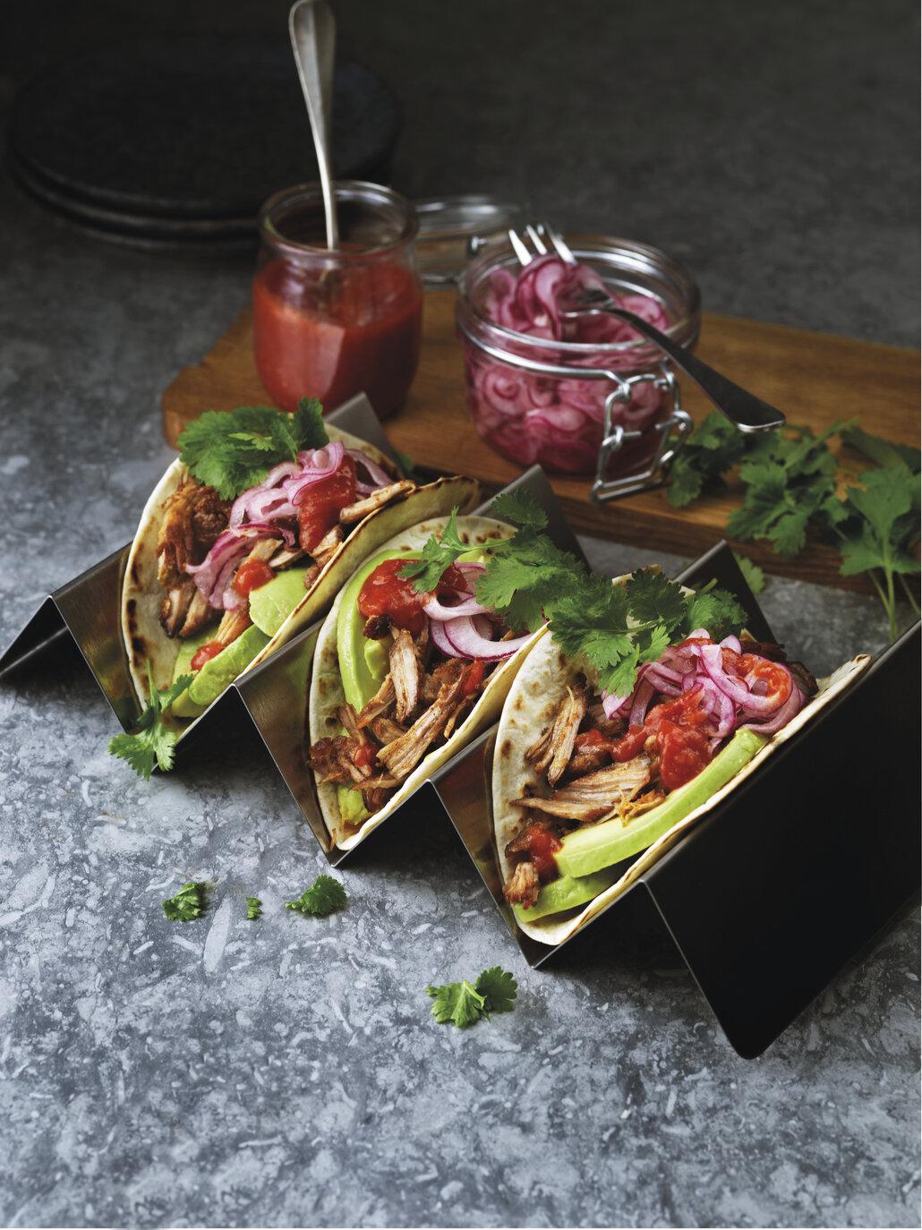 Báječné jsou tacos například s trhaným vepřovým masem.