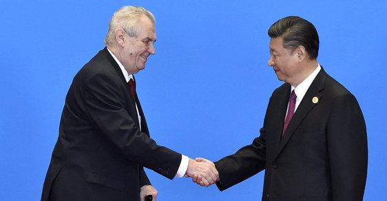 Prezident Miloš Zeman v Číně se svým čínským protějškem Si Ťin-pchingem