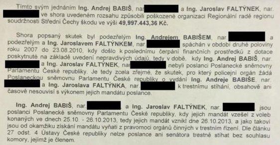 Na veřejnost unikla policejní žádost k vydání Andreje Babiše a Jaroslava Faltýnka