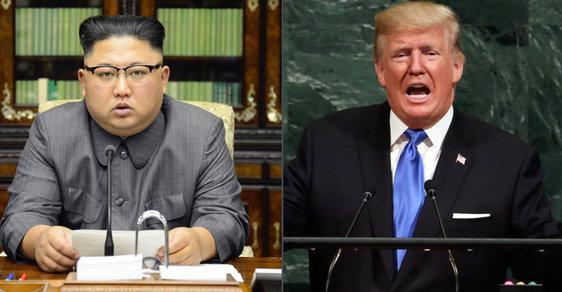 Severokorejský prezident Kim Čong-un a jeho americký protějšek Donald Trump