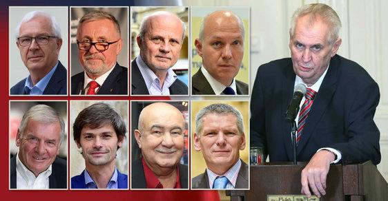 Prezidentské volby 2018: Zeman, Topolánek, Drahoš, Fischer, Hynek, Kulhánek, Hilšer, Hannig, Horáček