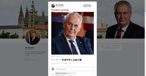 Miloš Zeman na nové fotografii zveřejněné Jiřím Ovčáčkem