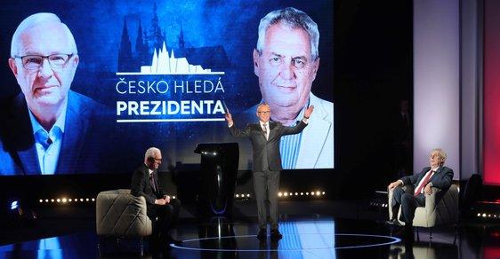Debata prezidentských kandidátů na Primě. Podle Drahošové televize atmosféru v sále karlínského divadla nezvládla.