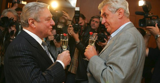 Miroslav Šlouf a Miloš Zeman v roce 2008