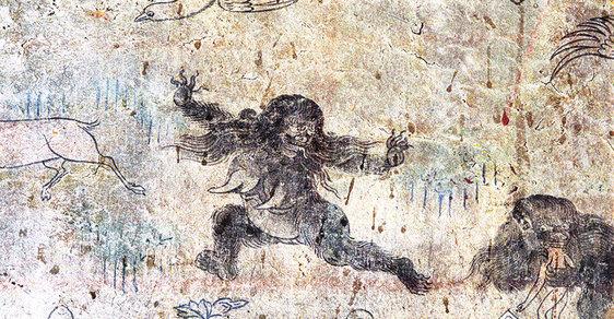 Tibetská nástěnná  malba z 19. století  zobrazuje dva yettie  pojídající člověka
