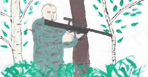 25 kreseb, jak si ruské děti představují Putina: Teror spláchne do záchodu, mír zajistí pistolí