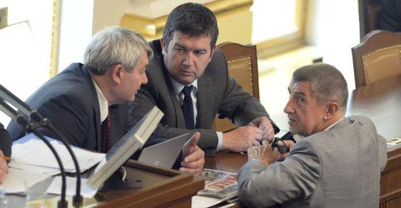 Andrej Babiš, Vojtěch Filip a Jan Hamáček ve sněmovně