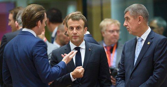 Summit EU k migraci: Rakouský kancléř Sebastian Kurz (vlevo), francouzský prezident Emmanuel Macron (uprostřed) a český premiér Andrej Babiš