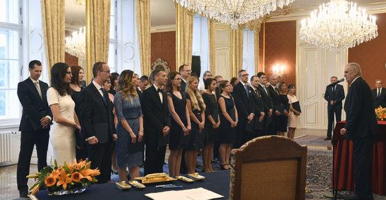 Miloš Zeman při jmenování 40 nových soudců v červenci 2018.