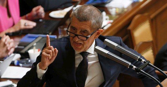 Andrej Babiš ve sněmovně před hlasováním o důvěře vládě