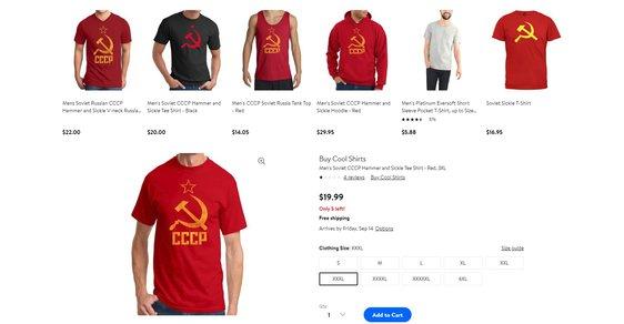 """Walmart stáhl na žádost Litvy trička se sovětskými symboly. Naštvané Rusko rozdává """"gratulace"""""""
