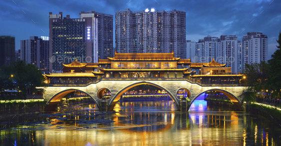 Čínské velkoměsto Čcheng-tu by za několik let měl osvětlovat umělý Měsíc. Ilustrační fotografie