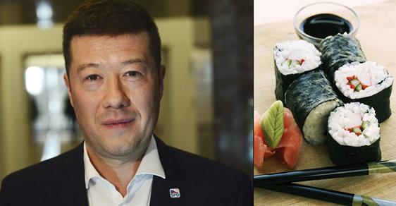 Tomio Okamura (SPD) a suši