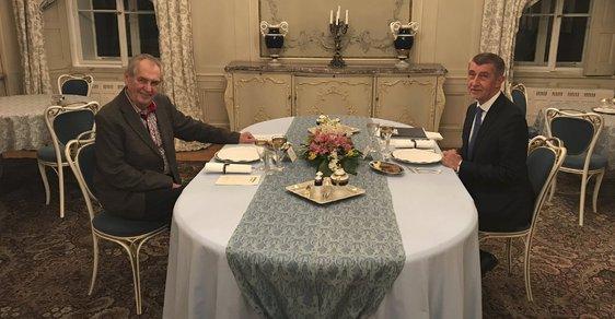Andrej Babiš navštívil v Lánech Miloše Zemana (28.1.2019)