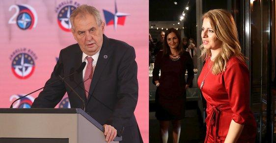 Český prezident Miloš Zeman a budoucí slovenská prezidentka Zuzana Čaputová