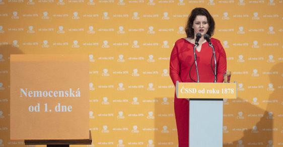 Ministryně práce a sociálních věcí Jana Maláčová z ČSSD