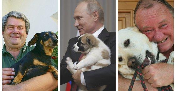 Kdo miluje psy, musí milovat i lidi (zleva: Vojtěch Filip, Vladimir Putin a Vítězslav Jandák).