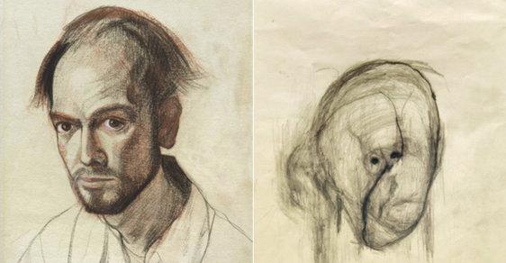 Alzheimer mu ukradl tvář: Rozpouštění vlastní osobnosti zachytil umělec v děsivé sérii autoportrétů
