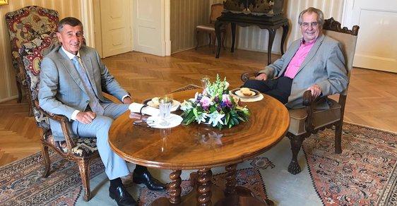Setkání premiéra Andreje Babiše s prezidentem Milošem Zemanem.