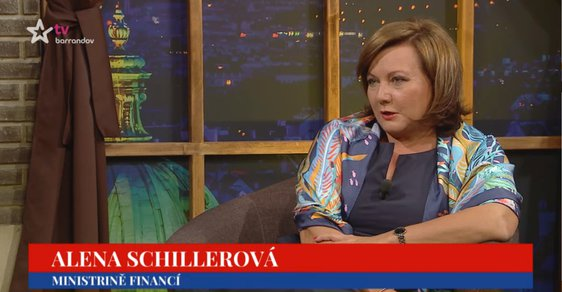 """""""Ministrině"""" financí Alena Schillerová v pořadu Talk Show Jiřího Ovčáčka"""