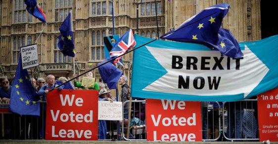 Před britským parlamentem protestují v těchto dnech příznivci i odpůrci brexitu.