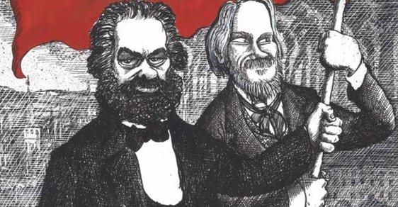 Komunistický manifest, jak byste ho nečekali. Marx i s Engelsem v rudém komiksu