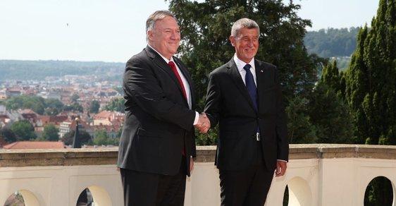 Americký ministr zahraničí Mike Pompeo se setkal s premiérem. Babiš ho přivítal v Kramářově vile