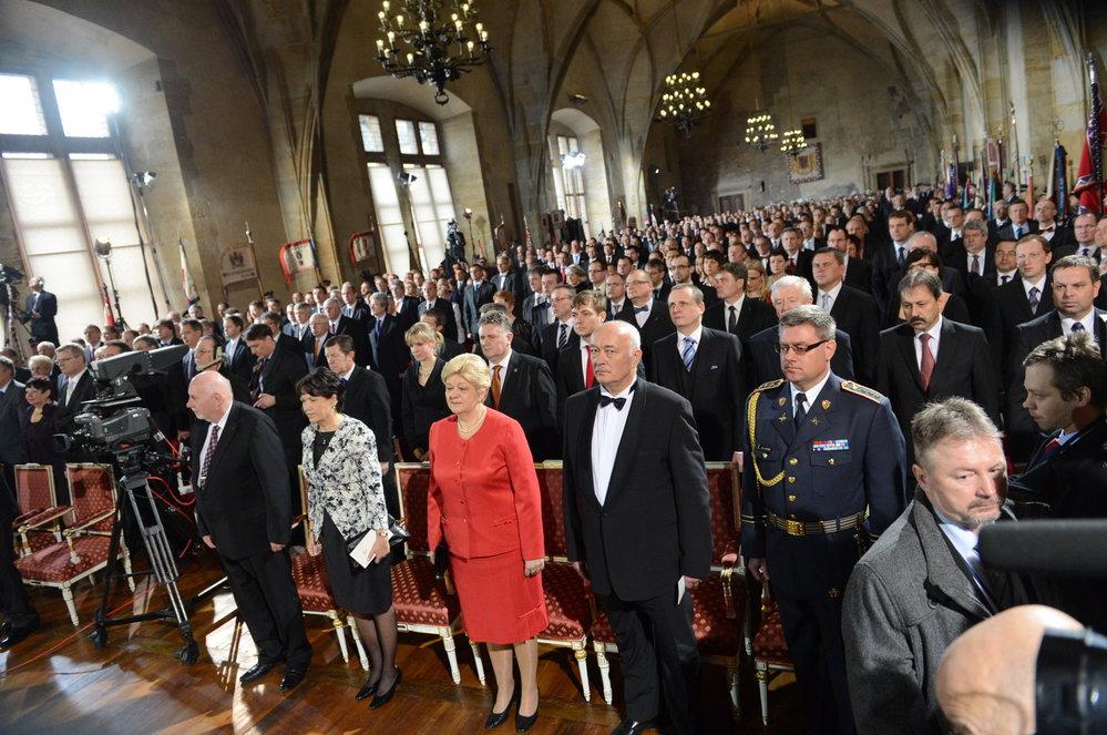 Inaugurace 2013: Pohled do Vladislavského sálu během inaugurace Miloše Zemana