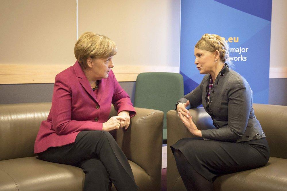 Julija Tymošenko v rozhovoru s německou kancléřkou Angelou Merkel