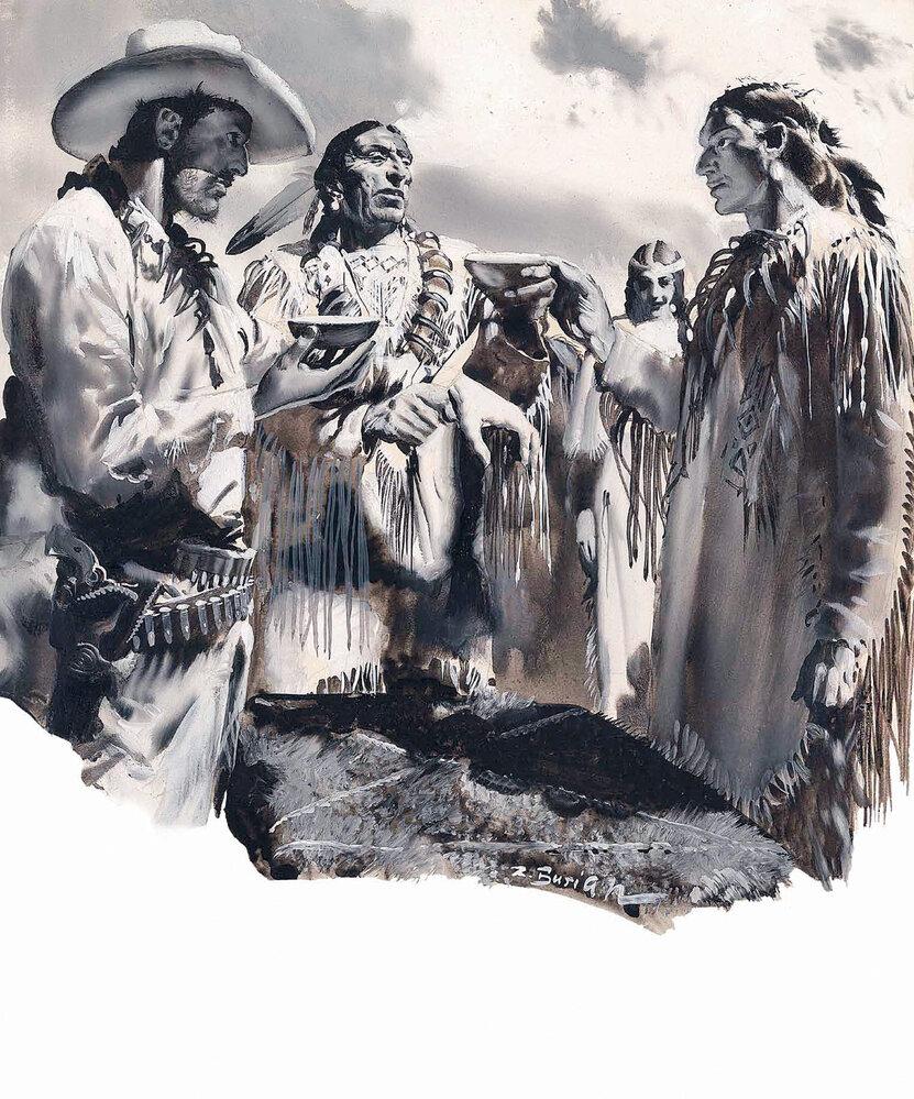 Jeden znepřekonatelných indiánských  kvašů Zdeňka Buriana ze 30. let...