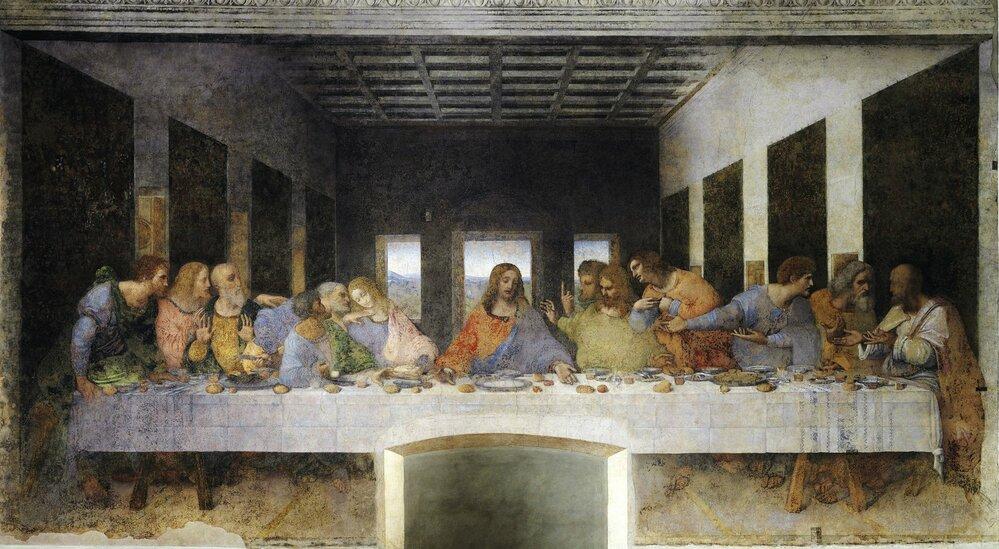 Leonardův obraz Poslední večeře Páně. Podle spisovatele Dana Browna  nesedí po pravé ruce Ježíše apoštol Jan, ale Máří Magdalena.
