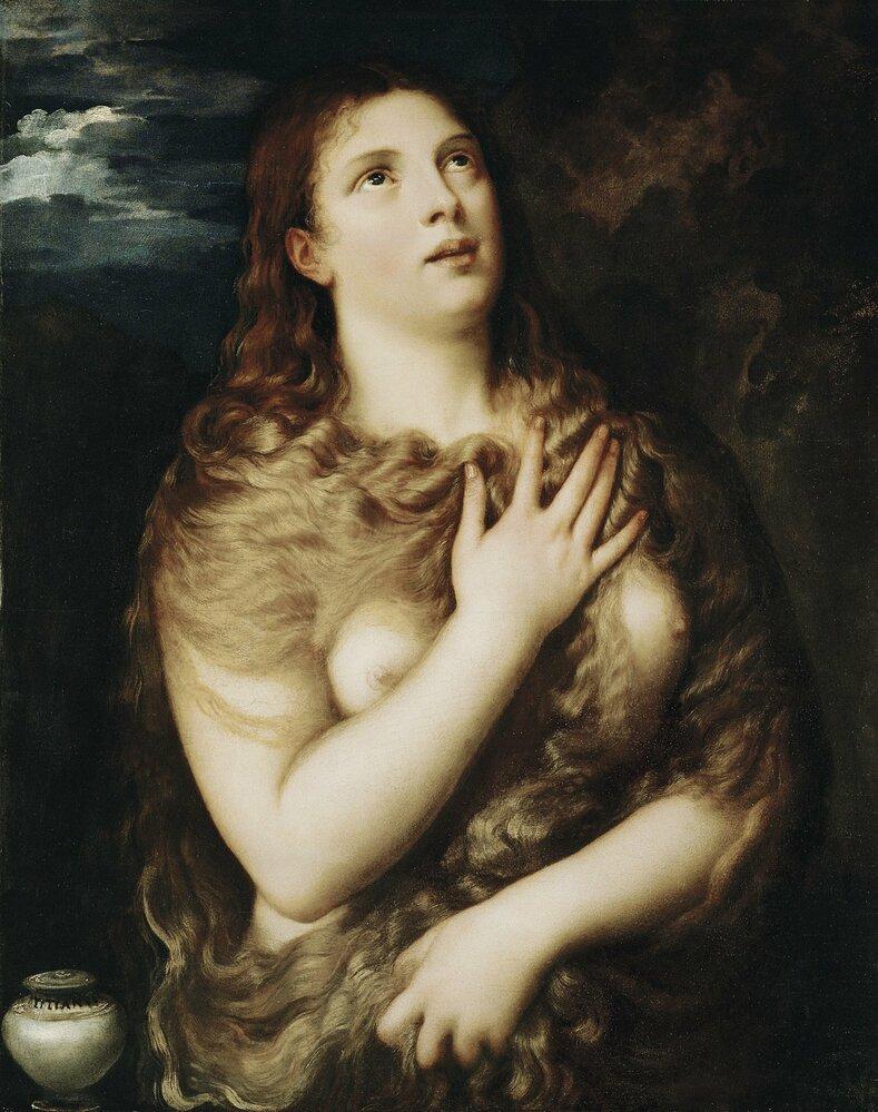 Tiziánova Máří Magdalena zroku 1533. Odkrytá ňadra mají zdůraznit její prostopášnou minulost.